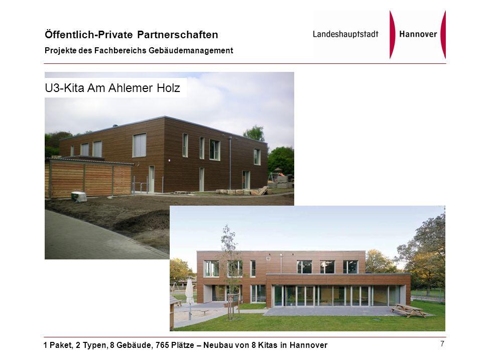 1 Paket, 2 Typen, 8 Gebäude, 765 Plätze – Neubau von 8 Kitas in Hannover Öffentlich-Private Partnerschaften Projekte des Fachbereichs Gebäudemanagement 7 U3-Kita Am Ahlemer Holz
