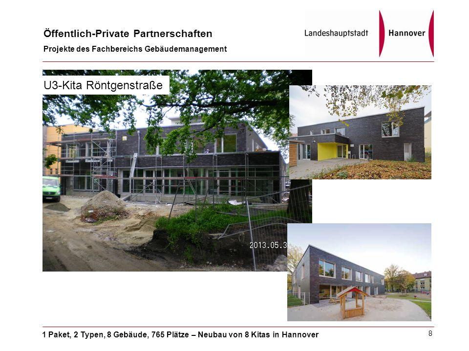 1 Paket, 2 Typen, 8 Gebäude, 765 Plätze – Neubau von 8 Kitas in Hannover Öffentlich-Private Partnerschaften Projekte des Fachbereichs Gebäudemanagement 8 U3-Kita Röntgenstraße