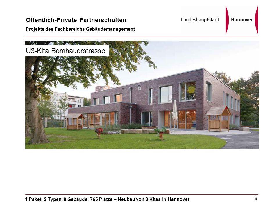 1 Paket, 2 Typen, 8 Gebäude, 765 Plätze – Neubau von 8 Kitas in Hannover Öffentlich-Private Partnerschaften Projekte des Fachbereichs Gebäudemanagement 9 U3-Kita Bomhauerstrasse
