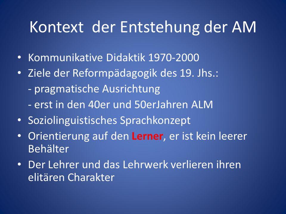 Kontext der Entstehung der AM Kommunikative Didaktik 1970-2000 Ziele der Reformpädagogik des 19.