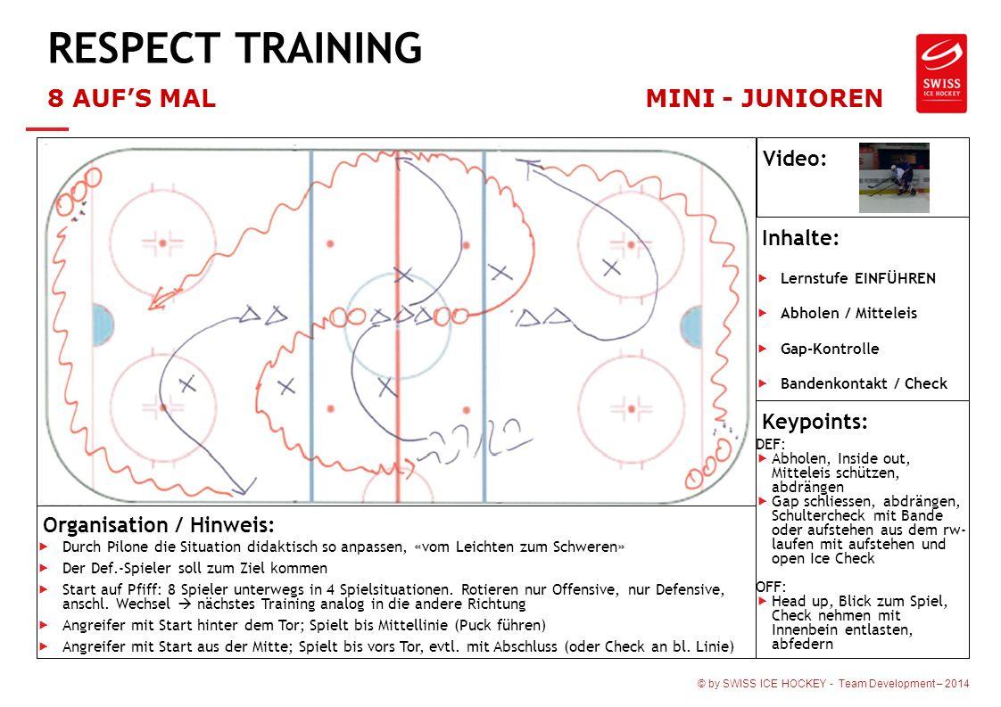 © by SWISS ICE HOCKEY - Team Development – 2014 RESPECT TRAINING 8 AUF'S MALMINI - JUNIOREN Organisation / Hinweis:  Durch Pilone die Situation didak