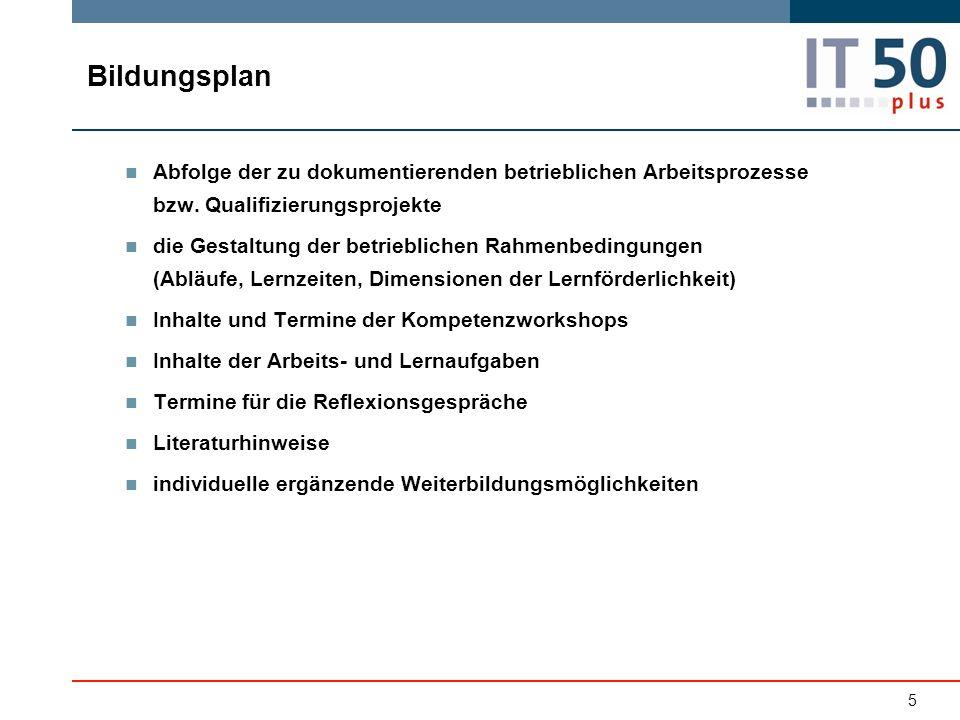 Bildungsplan Abfolge der zu dokumentierenden betrieblichen Arbeitsprozesse bzw.