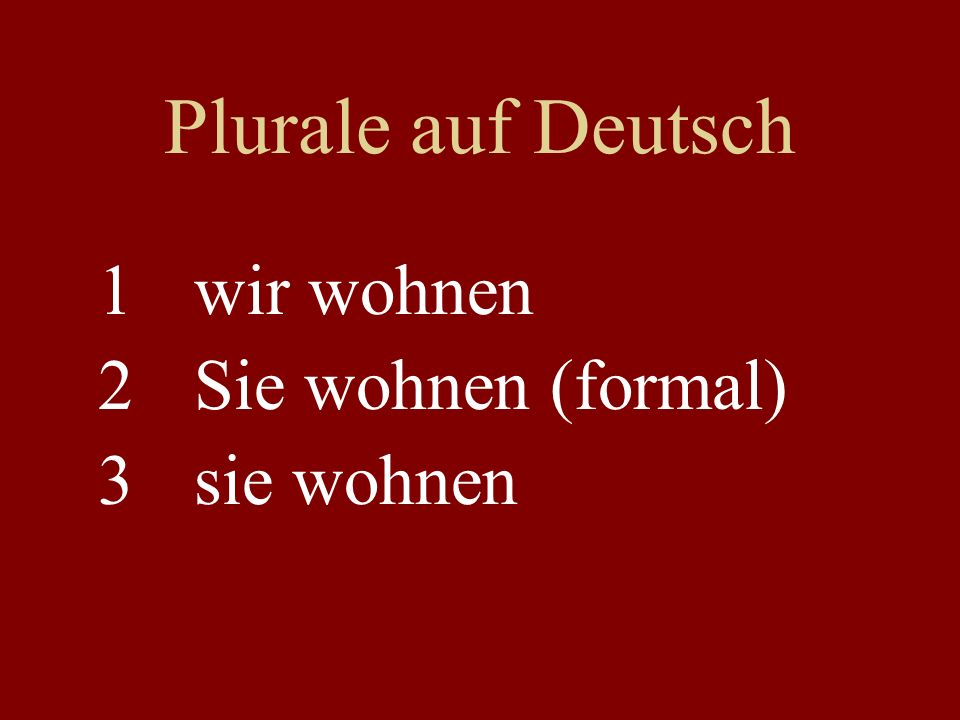 Plurale auf Deutsch 1wir wohnen 2Sie wohnen (formal) 3sie wohnen
