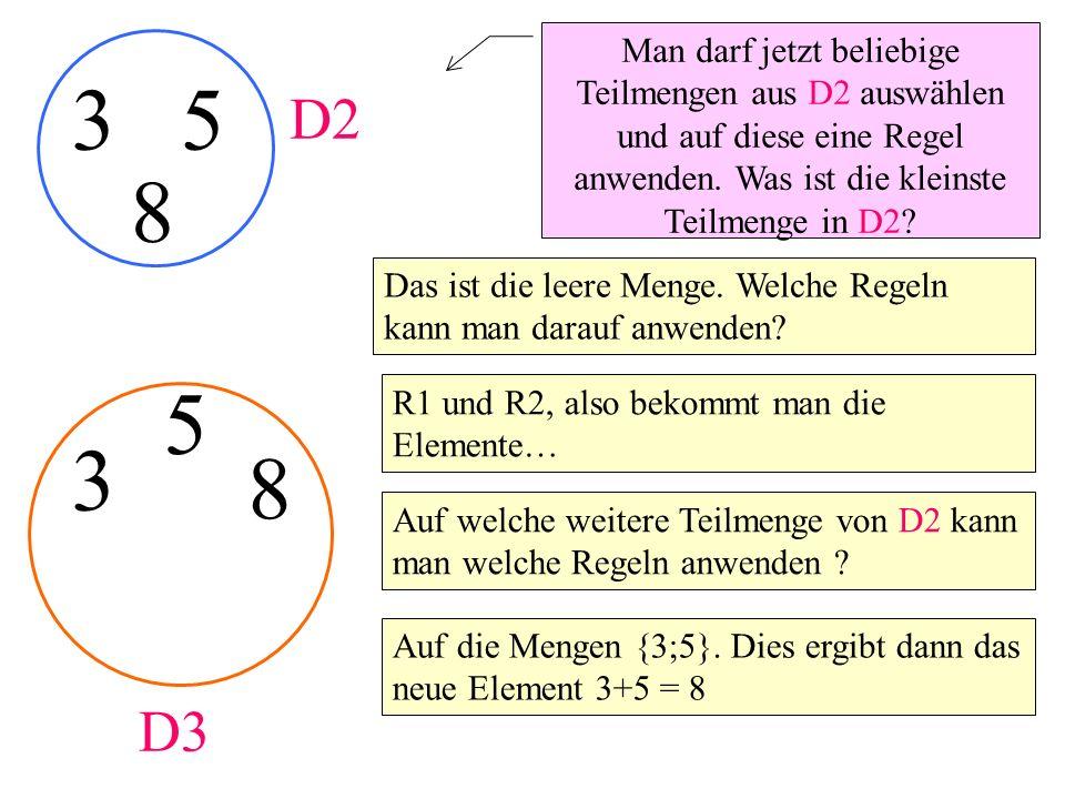 Man darf jetzt beliebige Teilmengen aus D2 auswählen und auf diese eine Regel anwenden. Was ist die kleinste Teilmenge in D2? 35 Das ist die leere Men