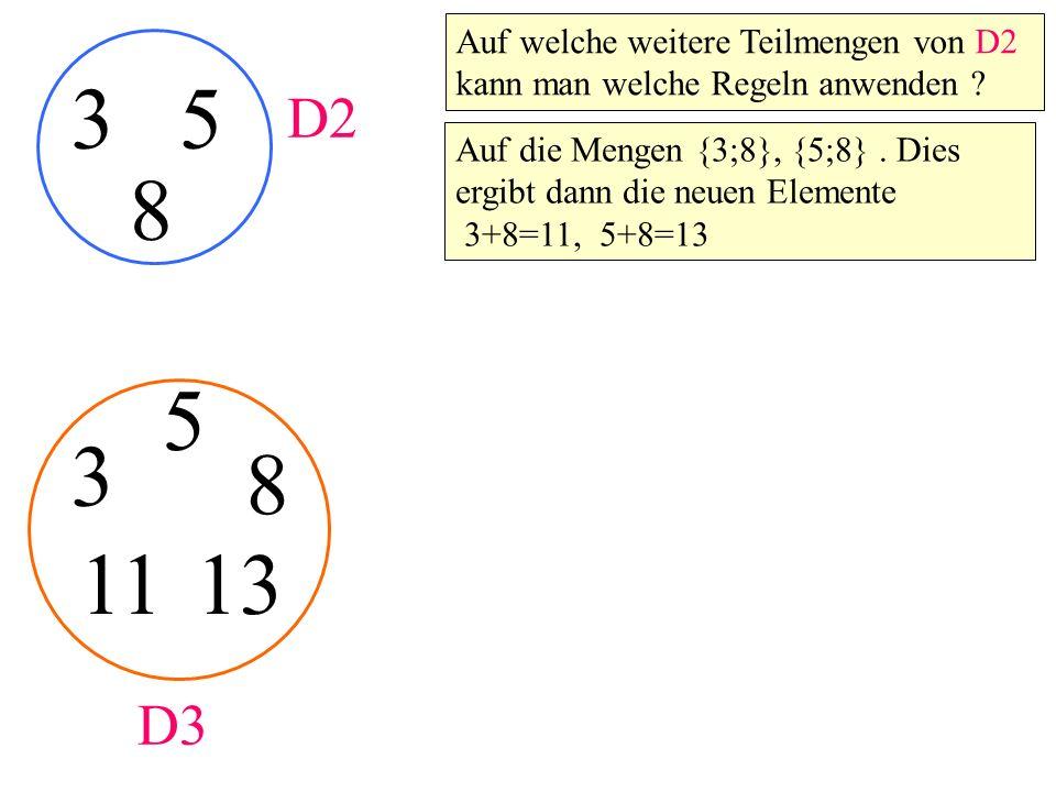35 3 5 D2 D3 8 8 Auf welche weitere Teilmengen von D2 kann man welche Regeln anwenden ? Auf die Mengen {3;8}, {5;8}. Dies ergibt dann die neuen Elemen