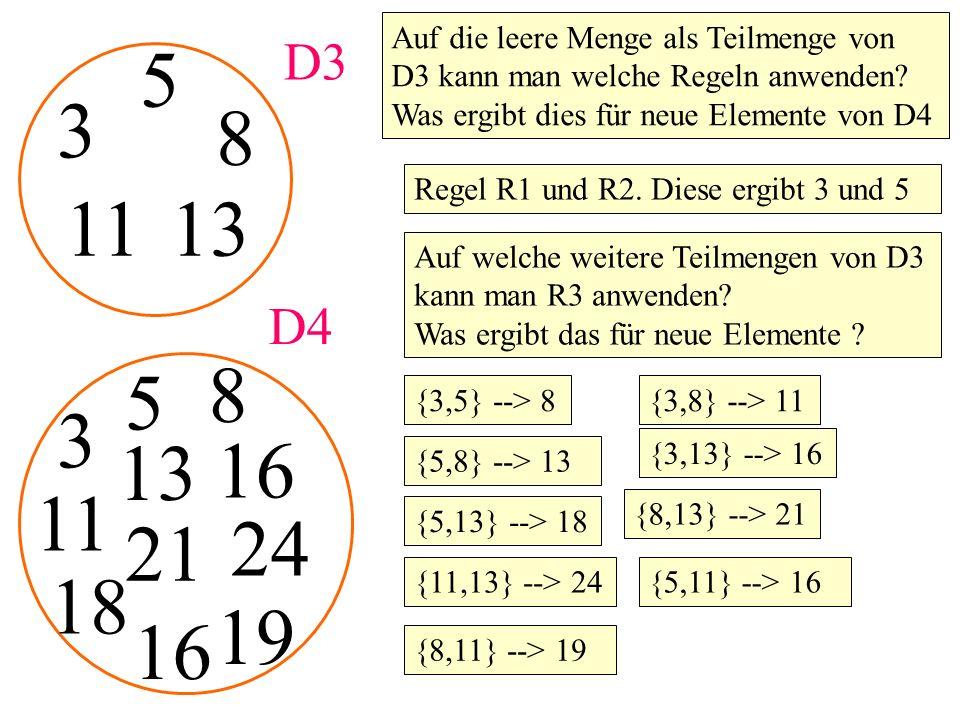 3 5 D3 8 Auf die leere Menge als Teilmenge von D3 kann man welche Regeln anwenden? Was ergibt dies für neue Elemente von D4 Regel R1 und R2. Diese erg