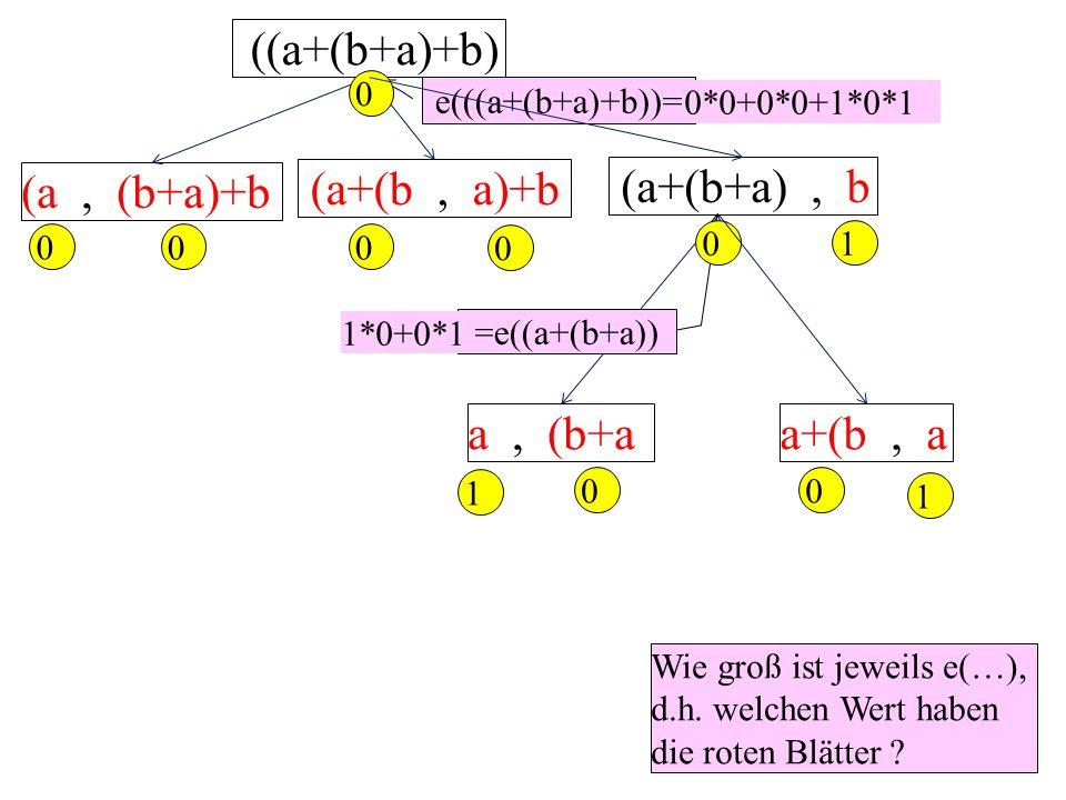 ((a+(b+a)+b) (a, (b+a)+b (a+(b+a), b (a+(b, a)+b 0 0 0 0 1 0 Wie groß ist jeweils e(…), d.h. welchen Wert haben die roten Blätter ? e(((a+(b+a)+b))= 0