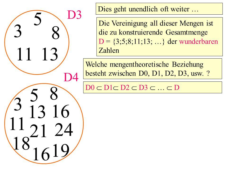 3 5 D3 8 1113 3 5 D4 8 11 13 16 18 21 16 19 Dies geht unendlich oft weiter … Die Vereinigung all dieser Mengen ist die zu konstruierende Gesamtmenge D = {3;5;8;11;13; …} der wunderbaren Zahlen Welche mengentheoretische Beziehung besteht zwischen D0, D1, D2, D3, usw.