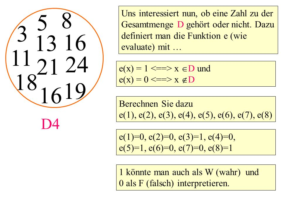 Uns interessiert nun, ob eine Zahl zu der Gesamtmenge D gehört oder nicht. Dazu definiert man die Funktion e (wie evaluate) mit … e(x) = 1 x  D und e
