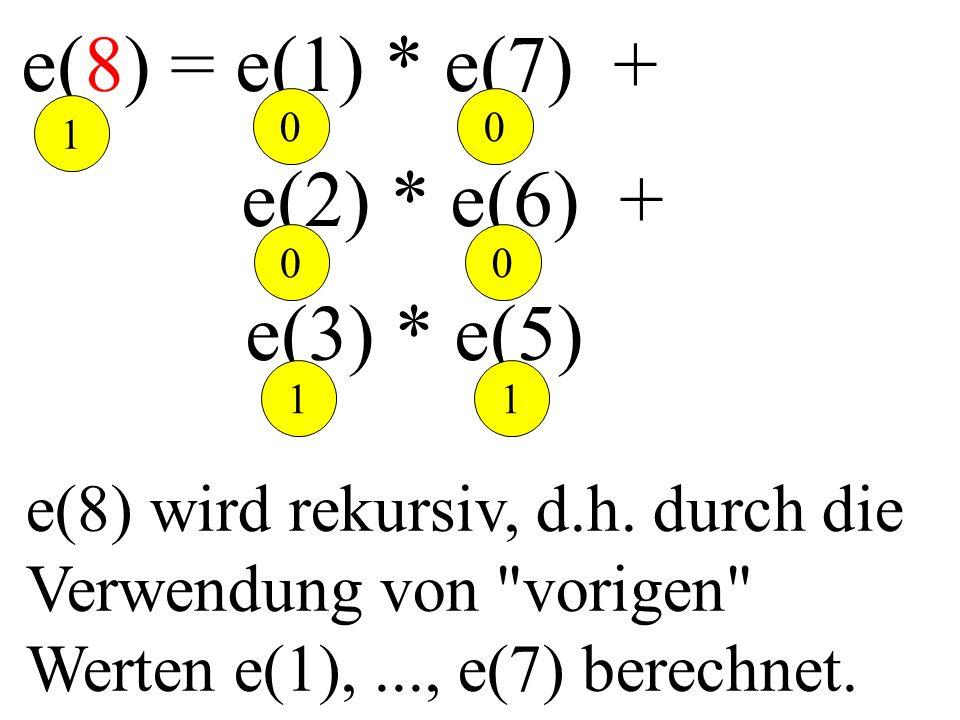 e(8) = e(1) * e(7) + e(2) * e(6) + e(3) * e(5) e(8) wird rekursiv, d.h. durch die Verwendung von