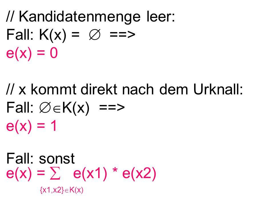 // Kandidatenmenge leer: Fall: K(x) =  ==> e(x) = 0 // x kommt direkt nach dem Urknall: Fall:  K(x) ==> e(x) = 1 Fall: sonst e(x) =  e(x1) * e(x2)