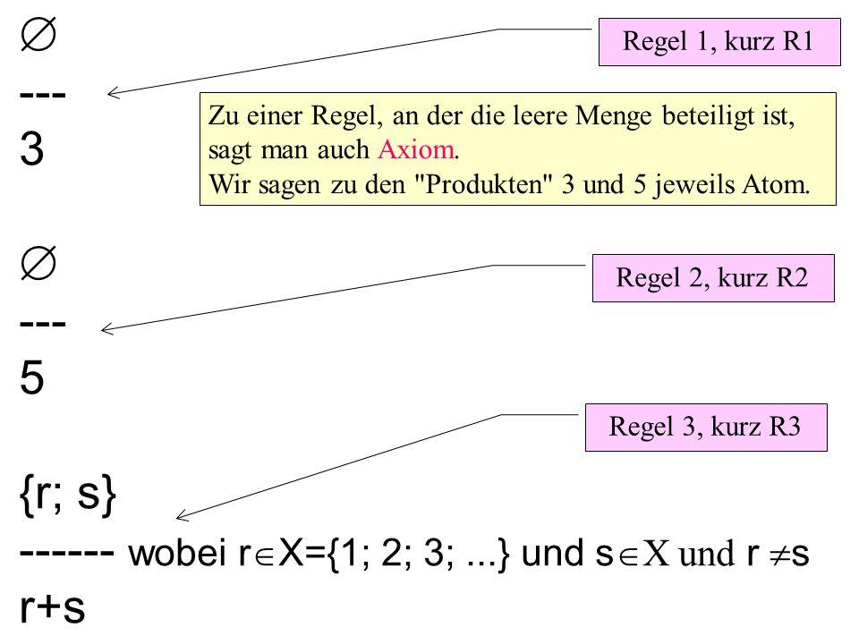  --- 3  --- 5 {r; s} ------ wobei r  X={1; 2; 3;...} und s  X und r  s r+s Regel 1, kurz R1 Regel 2, kurz R2 Regel 3, kurz R3 Zu einer Regel, an der die leere Menge beteiligt ist, sagt man auch Axiom.