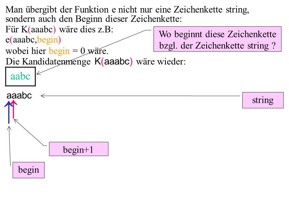 aaabc aabc ↑ string Wo beginnt diese Zeichenkette bzgl. der Zeichenkette string ? begin+1 ↑ begin Man übergibt der Funktion e nicht nur eine Zeichenke