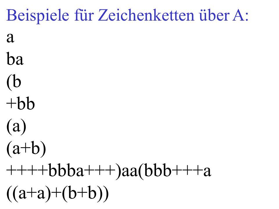 Beispiele für Zeichenketten über A: a ba (b +bb (a) (a+b) ++++bbba+++)aa(bbb+++a ((a+a)+(b+b))