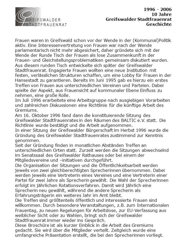 1996 - 2006 10 Jahre Greifswalder Stadtfrauenrat Presse Greifswalder Stadtblatt 23.08.2006 Greifswalder Anzeiger 3.
