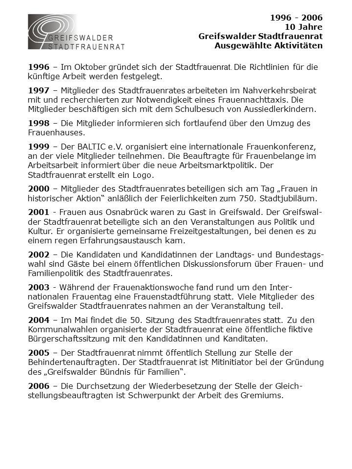 1996 - 2006 10 Jahre Greifswalder Stadtfrauenrat Ausgewählte Aktivitäten 1996 – Im Oktober gründet sich der Stadtfr auenrat.