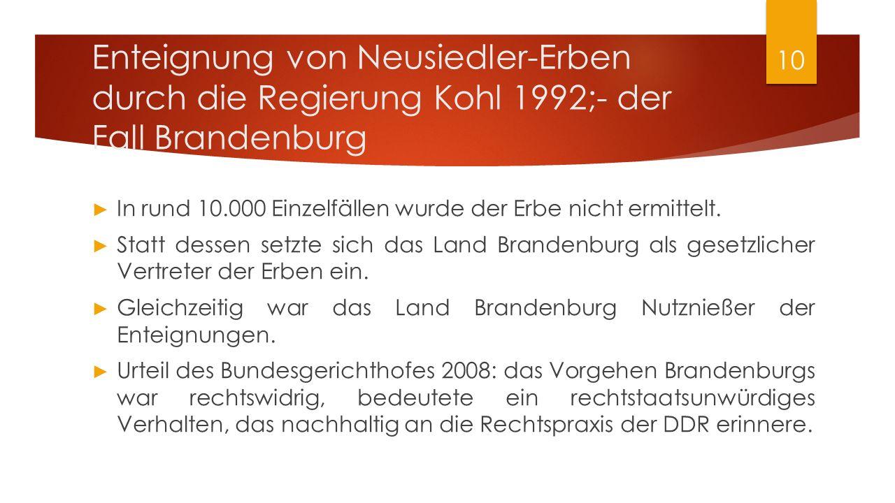 ► In rund 10.000 Einzelfällen wurde der Erbe nicht ermittelt. ► Statt dessen setzte sich das Land Brandenburg als gesetzlicher Vertreter der Erben ein