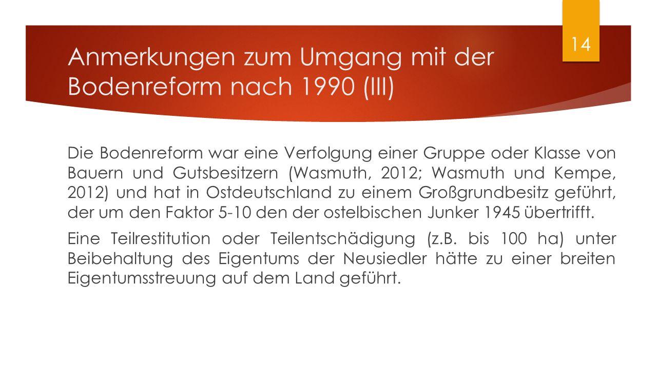 Anmerkungen zum Umgang mit der Bodenreform nach 1990 (III) Die Bodenreform war eine Verfolgung einer Gruppe oder Klasse von Bauern und Gutsbesitzern (