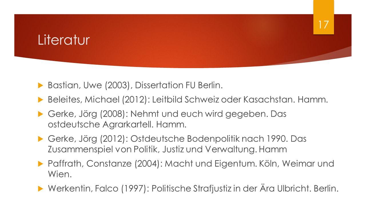 Literatur  Bastian, Uwe (2003), Dissertation FU Berlin.  Beleites, Michael (2012): Leitbild Schweiz oder Kasachstan. Hamm.  Gerke, Jörg (2008): Neh