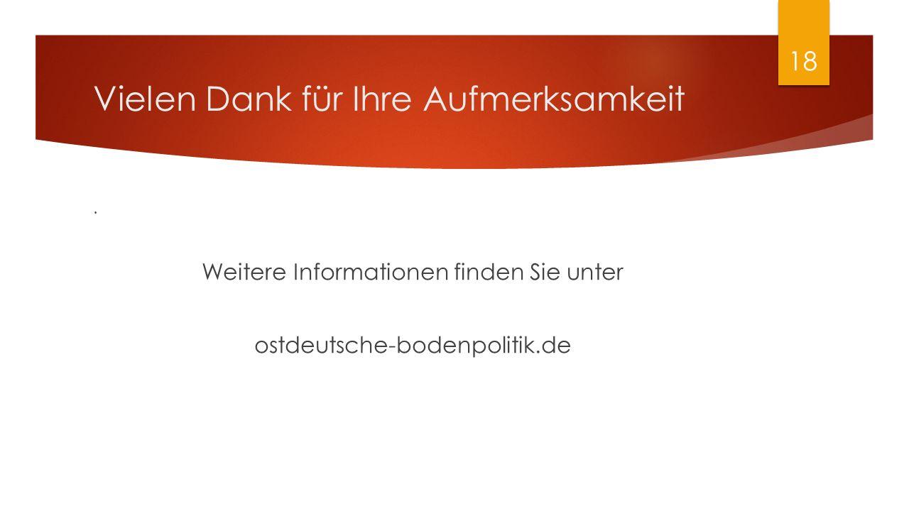 Vielen Dank für Ihre Aufmerksamkeit. Weitere Informationen finden Sie unter ostdeutsche-bodenpolitik.de 18