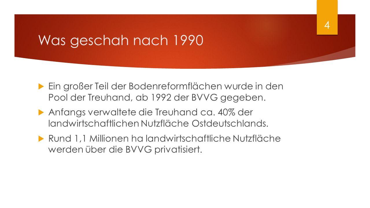 Was geschah nach 1990  Ein großer Teil der Bodenreformflächen wurde in den Pool der Treuhand, ab 1992 der BVVG gegeben.