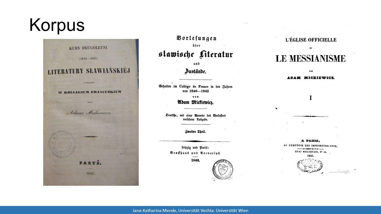 Korpus Jana-Katharina Mende, Universität Vechta. Universität Wien