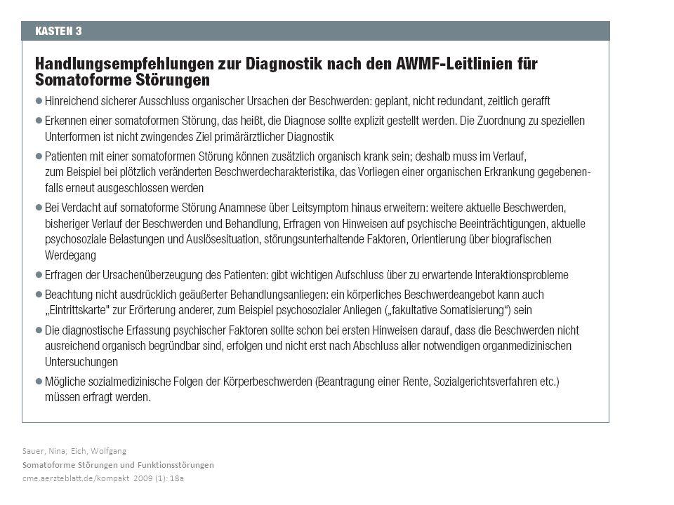 Sauer, Nina; Eich, Wolfgang Somatoforme Störungen und Funktionsstörungen cme.aerzteblatt.de/kompakt 2009 (1): 18a