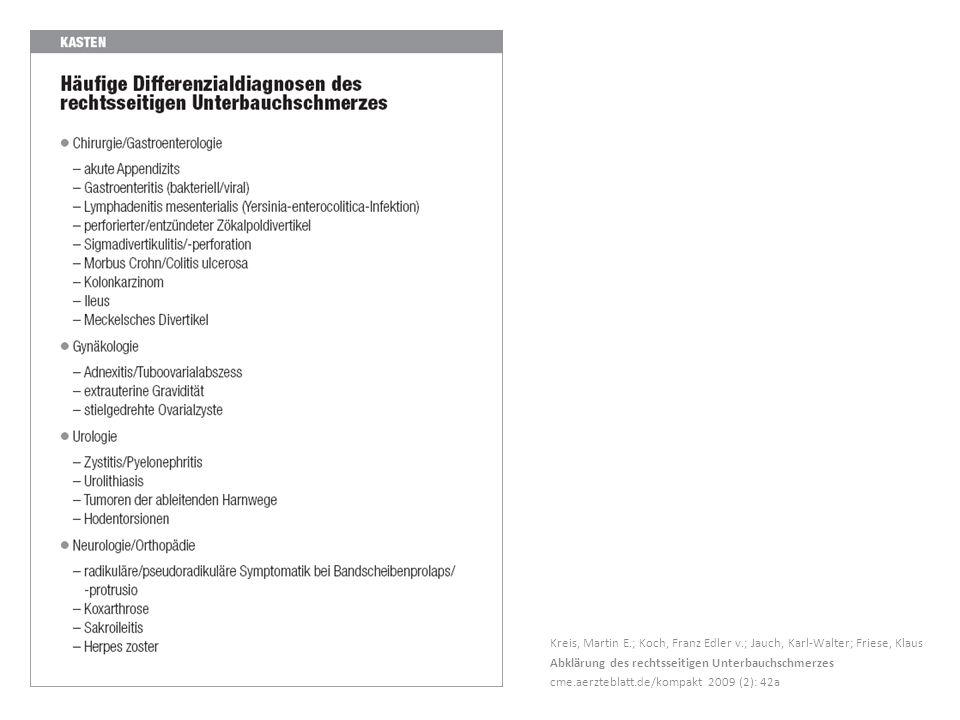 Kreis, Martin E.; Koch, Franz Edler v.; Jauch, Karl-Walter; Friese, Klaus Abklärung des rechtsseitigen Unterbauchschmerzes cme.aerzteblatt.de/kompakt 2009 (2): 42a