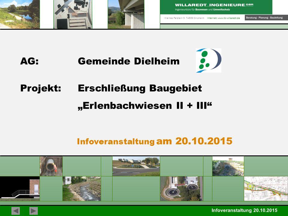 """Kleines Feldlein 3 74889 Sinsheim Internet: www.ib-willaredt.de Infoveranstaltung 20.10.2015 Gemeinde Dielheim BG Erlenbachwiesen II + III Baugebiet """"Erlenbachwiesen Fläche ca."""