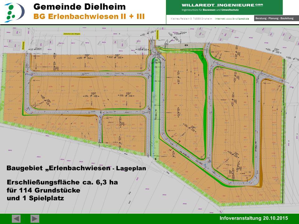 """Kleines Feldlein 3 74889 Sinsheim Internet: www.ib-willaredt.de Infoveranstaltung 20.10.2015 Gemeinde Dielheim BG Erlenbachwiesen II + III Baugebiet """""""