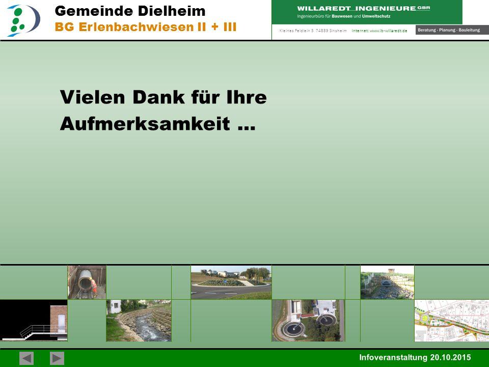 Kleines Feldlein 3 74889 Sinsheim Internet: www.ib-willaredt.de Infoveranstaltung 20.10.2015 Gemeinde Dielheim BG Erlenbachwiesen II + III Vielen Dank