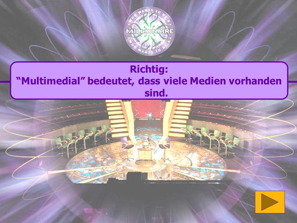 Richtig: Multimedial bedeutet, dass viele Medien vorhanden sind.