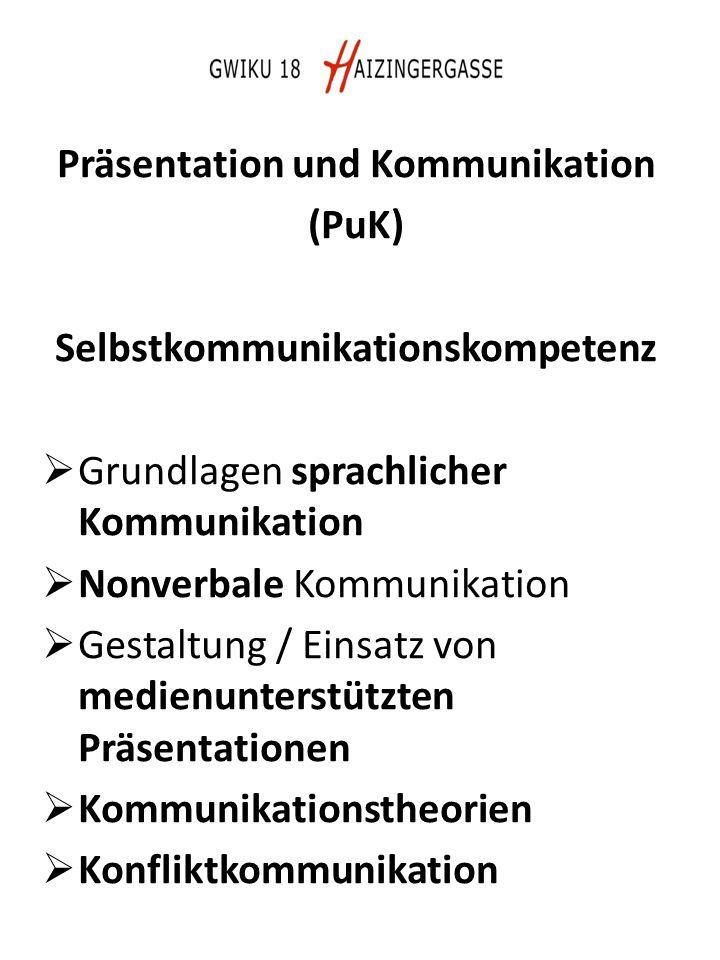Präsentation und Kommunikation (PuK) Selbstkommunikationskompetenz  Grundlagen sprachlicher Kommunikation  Nonverbale Kommunikation  Gestaltung / Einsatz von medienunterstützten Präsentationen  Kommunikationstheorien  Konfliktkommunikation