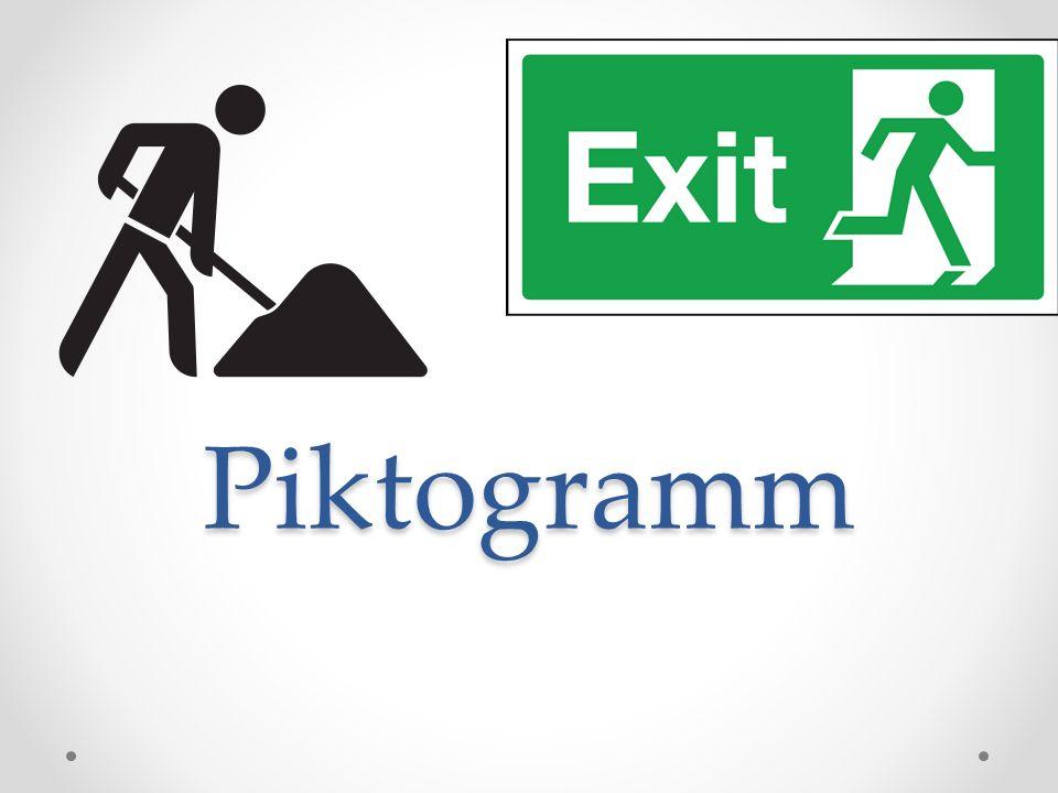 Definition Ein Piktogramm (von lateinisch pictum 'gemalt' und griechisch graphein, schreiben)lateinisch Bildzeichen, welches Informationen durch eine vereinfachte grafische Darstellung vermittelt