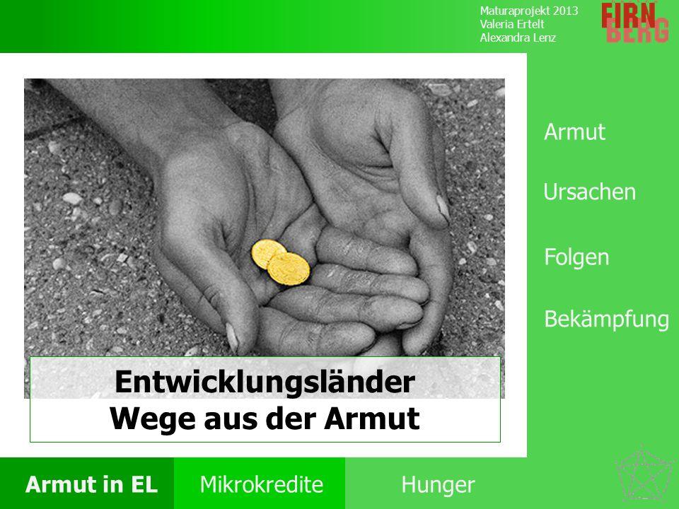 Maturaprojekt 2013 Valeria Ertelt Alexandra Lenz Armut in ELMikrokrediteHunger Folgen Ursachen Armut Bekämpfung Folgen Analpha- betismus Hunger Krankheiten & Seuchen Keine Lese- oder Schreibfähigkeiten