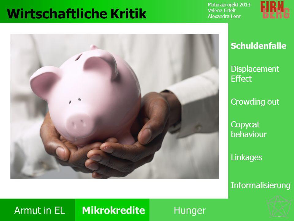 Maturaprojekt 2013 Valeria Ertelt Alexandra Lenz Armut in ELMikrokrediteHunger Kritik System Forschungs- frage Fazit Wirtschaftliche Kritik Schuldenfa