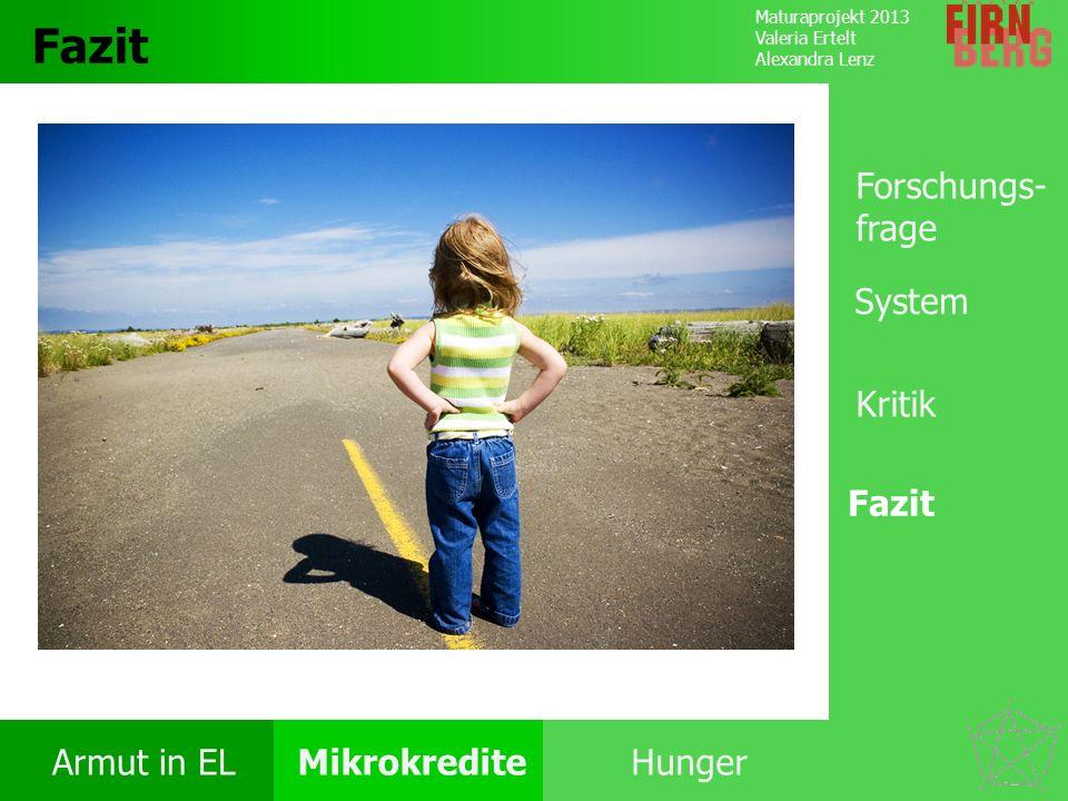 Maturaprojekt 2013 Valeria Ertelt Alexandra Lenz Armut in ELMikrokrediteHunger Kritik System Forschungs- frage Fazit