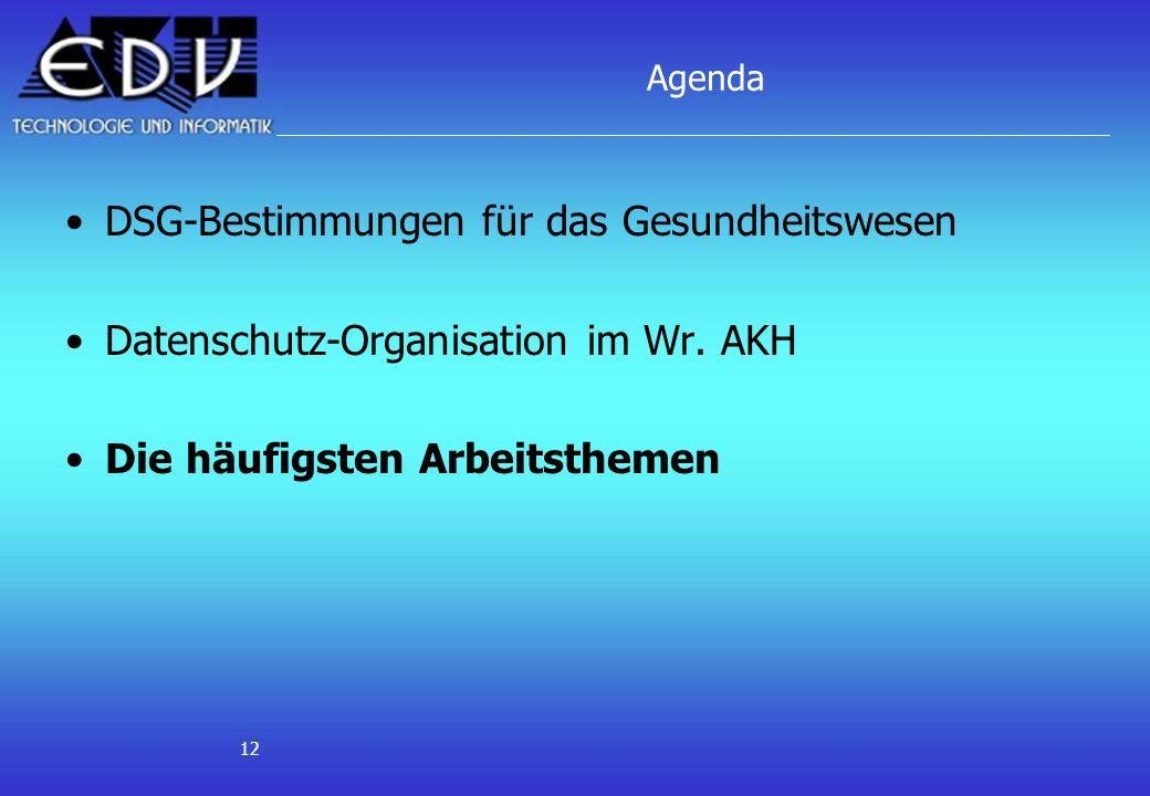 12 Agenda DSG-Bestimmungen für das Gesundheitswesen Datenschutz-Organisation im Wr. AKH Die häufigsten Arbeitsthemen
