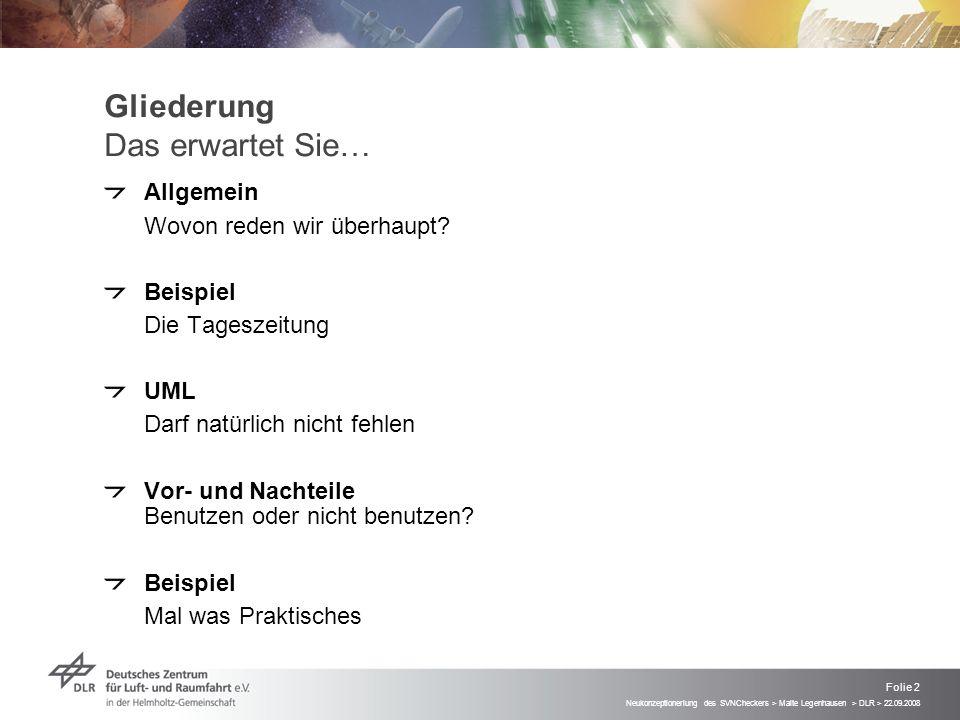 Neukonzeptioneriung des SVNCheckers > Malte Legenhausen > DLR > 22.09.2008 Folie 2 Gliederung Das erwartet Sie… Allgemein Wovon reden wir überhaupt.