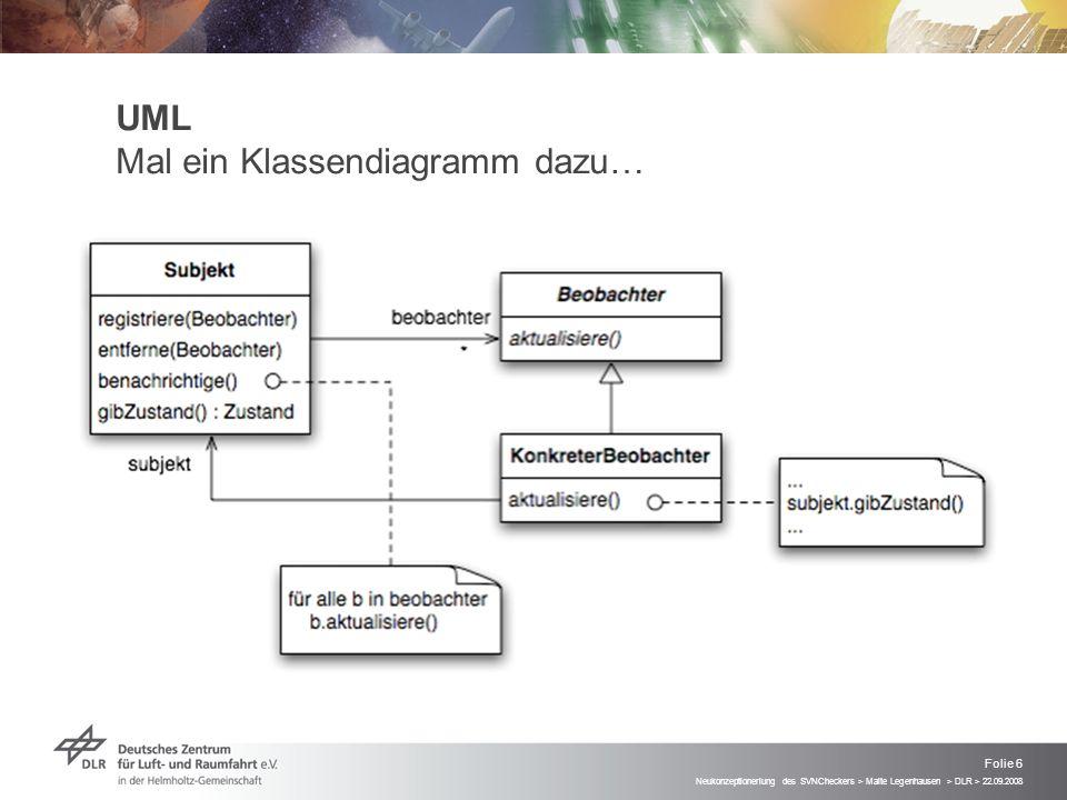Neukonzeptioneriung des SVNCheckers > Malte Legenhausen > DLR > 22.09.2008 Folie 6 UML Mal ein Klassendiagramm dazu…