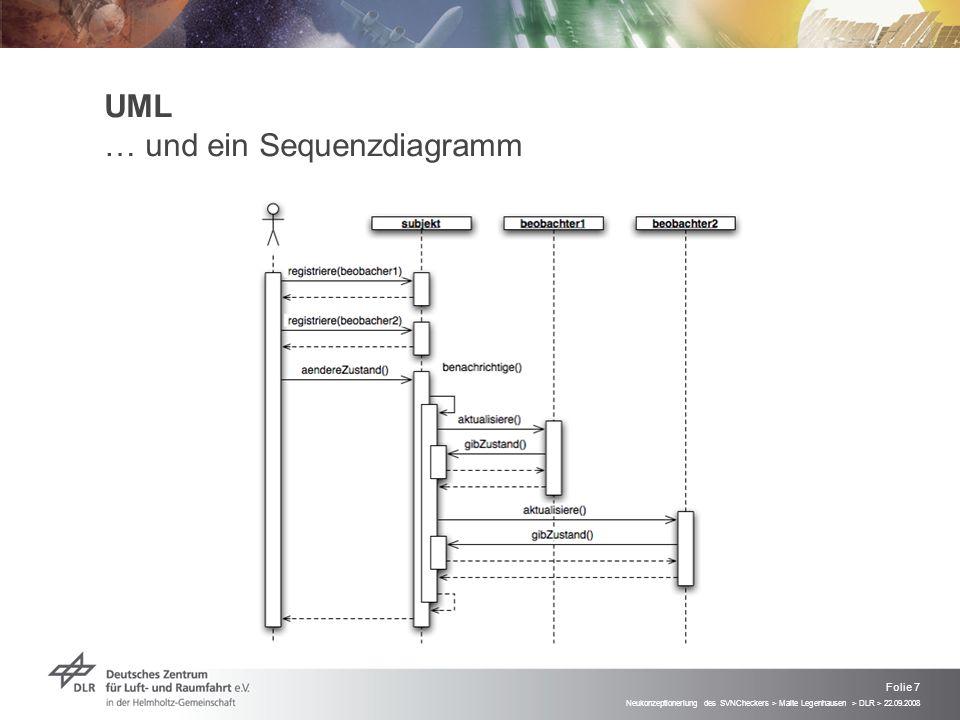 Neukonzeptioneriung des SVNCheckers > Malte Legenhausen > DLR > 22.09.2008 Folie 7 UML … und ein Sequenzdiagramm