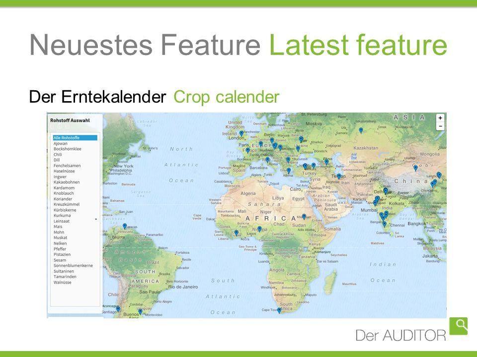 Neuestes Feature Latest feature Der Erntekalender Crop calender