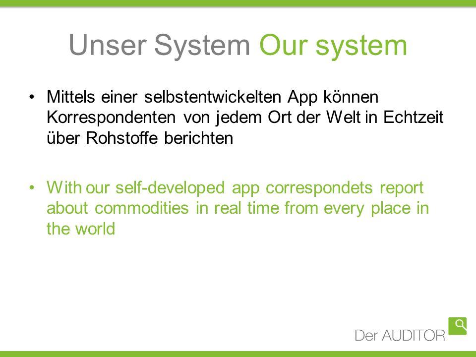 Unser System Our system Mittels einer selbstentwickelten App können Korrespondenten von jedem Ort der Welt in Echtzeit über Rohstoffe berichten With o