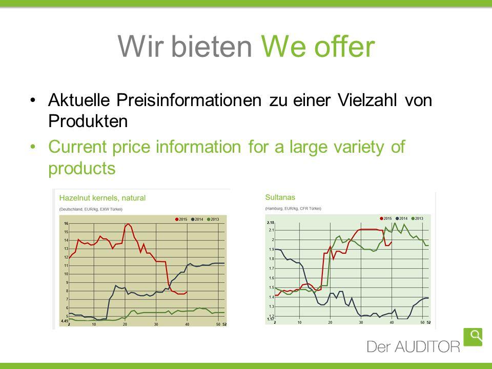 Wir bieten We offer Aktuelle Preisinformationen zu einer Vielzahl von Produkten Current price information for a large variety of products