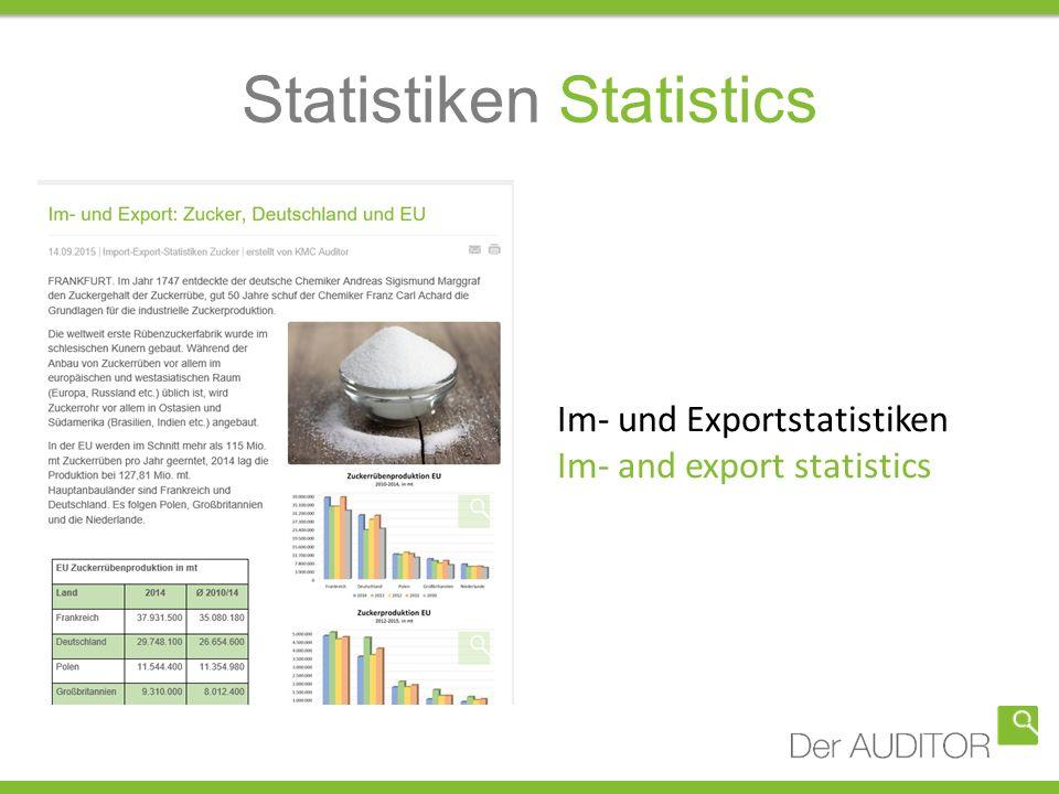 Statistiken Statistics Im- und Exportstatistiken Im- and export statistics