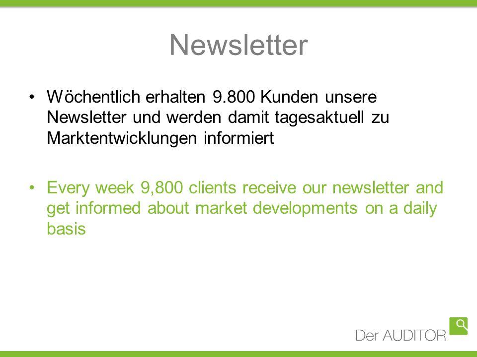 Newsletter Wöchentlich erhalten 9.800 Kunden unsere Newsletter und werden damit tagesaktuell zu Marktentwicklungen informiert Every week 9,800 clients