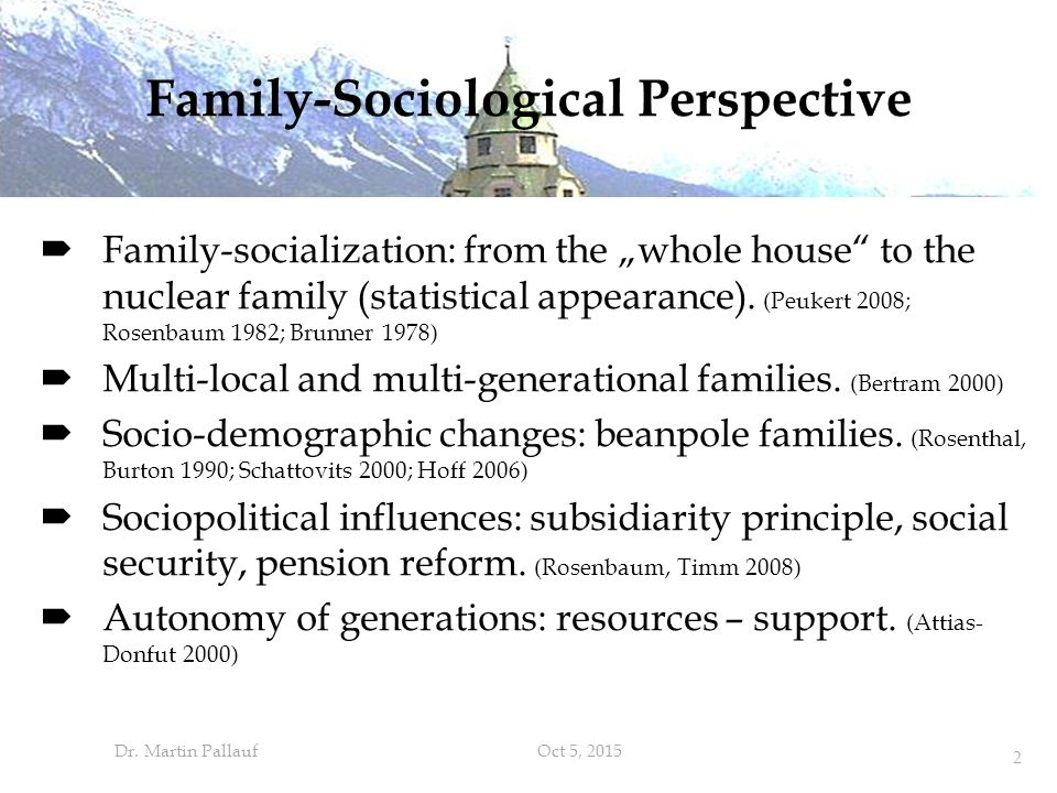 "Family-Sociological Perspective  Family-socialization: from the ""whole house to the nuclear family (statistical appearance)."