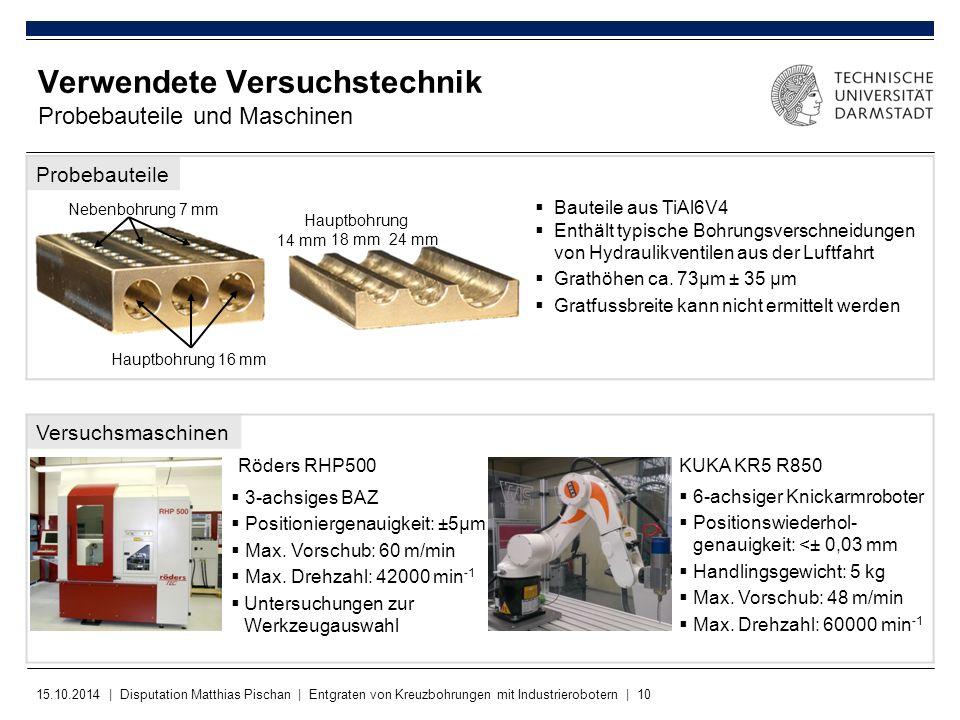 15.10.2014 | Disputation Matthias Pischan | Entgraten von Kreuzbohrungen mit Industrierobotern | 10 Verwendete Versuchstechnik Probebauteile und Masch
