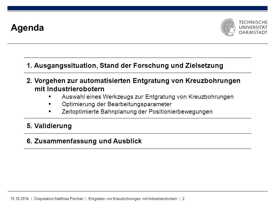 15.10.2014 | Disputation Matthias Pischan | Entgraten von Kreuzbohrungen mit Industrierobotern | 2 Agenda 1. Ausgangssituation, Stand der Forschung un