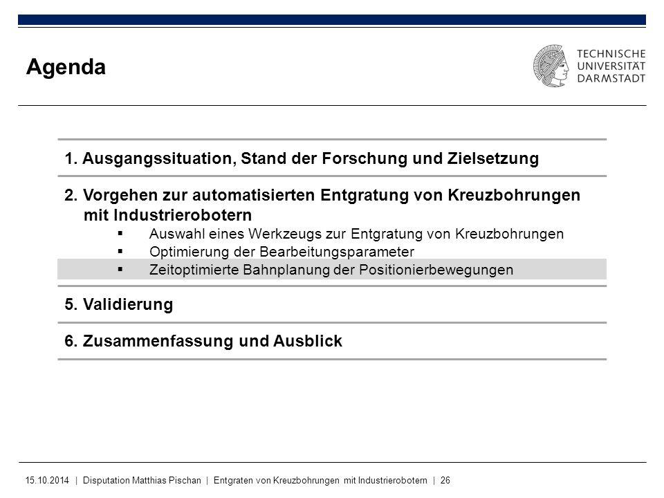 15.10.2014 | Disputation Matthias Pischan | Entgraten von Kreuzbohrungen mit Industrierobotern | 26 Agenda 2. Vorgehen zur automatisierten Entgratung